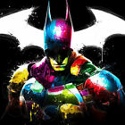 Batman Super Hero Logo Colourful Abstract WALL ART CANVAS FRAMED OR POSTER PRINT