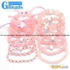 Handmade Natural Pink Rose Quartz Beaded Energy Healing Stretchy Bracelet 7.5""