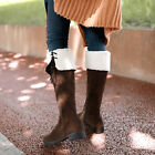 HOT Women Lady Winter Warm Snoe Boots Cuban Low Heel Strap Zipper Mid Calf Boots