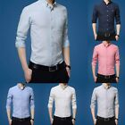 Fashion Men's Casual Shirts Business T-shirt Long Sleeve Slim Fit Tops Tees