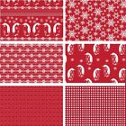 Red Nordic Christmas Scandinavian 100% Cotton Patchwork Fabric (Fabric Freedom)