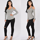 Sexy Blouse Slim T-Shirt Sexy Womens Off The Shoulder Bandage Long Sleeve Tops