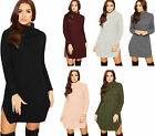 Womens Polo Cowl Neck Jumper Dress Ladies Cable Knitted Long Sleeve Plain Top