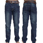 Crosshatch Mens New Farrow Dark Wash Regular Faded Blue Denim Jeans With Belt