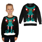 Kids 3D Novelty Mr Elf Christmas Jumper Knitted Crew Neck Xmas Sweater Top