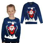 Kids 3D Novelty Skiing Santa Christmas Jumper Knitted Crew Neck Xmas Sweater Top