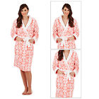 Loungeable Womens Coral Floral Long Robe New Ladies Soft Luxury Fleece Nightwear