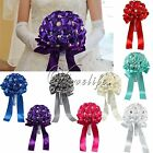 8 Colors Satin Rose Flowers Wedding Bouquet Pearl Rhinestone Ribbon Bridal Decor
