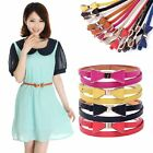 Fashion Chic Women Lady Waistband Faux Leather Thin Skinny Bow Waist Belt Buckle