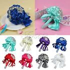 Colorful Satin Rose Wedding Bouquet Flower Rhinestone Crystal Beaded Bride Decor