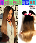 7A Brazilian Remy Ombre Straight Hair 100% Human hair 1B/4/27# 100g US Seller!