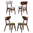 Set of 4 Light Grey Beige Chestnut Curved Back Angled Out Leg Dining Side Chairs