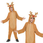 Smiffys Reindeer Boy 3D Jumpsuit Christmas Party All In One Fancy Dress Costume