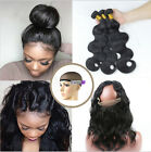 8A Brazilian Hair Weave 3 Bundles/150g Body Wave with 360 Lace Frontal Closure