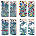 HEAD CASE SHARK PRINTS SKY BLUE GLITTER CASE FOR APPLE iPHONE SAMSUNG PHONES