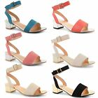 Womens Ladies Strappy Sandals Block Heel Ankle Cuff Mid Heel Peep Toe Shoes 3-8