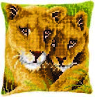 Vervaco PN-0145970 | Lrg Hole Canvas Lion & Cub Cushion Front Cross Stitch Kit