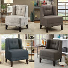 Living Room Accent Chair Plush Seating Button Tufted Chair Back Fabric Wood Legs