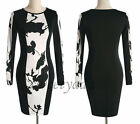 Hot Floral Women Cocktail Party Wiggle Stretchy Pencil Dress UK Local Postage