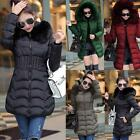 Winter Women Down Warm Long Padded Fur Collar Hooded Coat Jacket Outwear