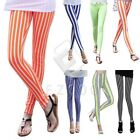 Women Ladies Vertical Striped Leggings Jeggings Slim Stretchy Pant Trousers VQ20