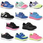New Girls Boys Kids Casual Running Walking Strap Sports Trainers Shoes