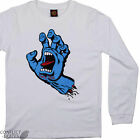 "SANTA CRUZ ""Screaming Hand"" Youth Long Sleeve Skateboard T-Shirt WHITE S M L XL"