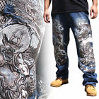 2017 New Men's Jeans Embroidery Straight Fit Limited Dragon Wind Thunder W30-W42