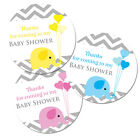 Baby shower stickers - 60mm in diameter, Blue, Pink or Yellow, 'baby elephant'
