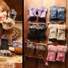 Popular Soft Women Warm Winter Women Rabbit Fur Suede Fingerless Gloves Mittens