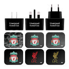 LIVERPOOL FC LFC CREST & LIVERBIRD BLACK UK CHARGER & USB CABLE FOR APPLE iPAD