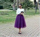 Lady's Calf Length Tulle Skirt TUTU Wome A-Line Style Bouffant Mesh Pettiskirt