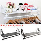 Heavy Duty Vintage Metal Clothes Rail Wall Mounted Garment Hanging Rack & Shelf
