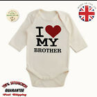 Organic Cotton I Love Brother Baby Toddler Vest Long Sleeve Body Suits Grow