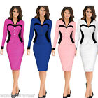 Women Elegant Vintage Suit Look Wear To Work Business Party Bodycon Pencil Dress