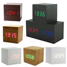 Modern Squared Wooden Wood Digital Desk Alarm Clock Sound Control Thermometer