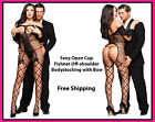 Sexy Open Cup Fishnet Off-shoulder Body stocking with Bow one size