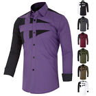 Mens Luxury Casual Long Sleeve Dress T Shirts Slim Fit Formal Plus Size Shirts
