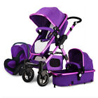 3 In 1 Baby Stroller Carriage High Landscape Pram Foldable Pushchair & Car Seat