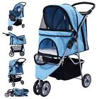 Three Wheel Pet Stroller Cart Cat Dog Foldable Carrier Travel Jogger Multi Color