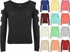 New Womens Plain Cut Out Long Sleeve Sweater Top Ladies Knitted Jumper 8 - 14