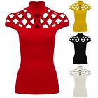Ladies Laser Caged Cut Out Cap Sleeve Plain Crepe High Neck Fitted Top T-Shirt