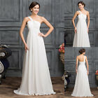White Summer Chiffon Wedding Formal Party Dreses Long Prom Evening Formal Gown