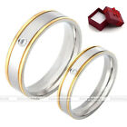1pc Women Men Stainless Steel CZ Gem Crystal Couple Wedding Engagement Ring Band