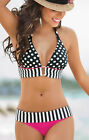 Sexy Women Retro Bikini Bandage Polka Dot Push-Up Swimsuit Padded Beachwear