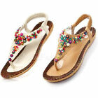 Women Bohemia Floral Flat Shoes Beach Sandals Thongs Slippers Flip Toe Flops New