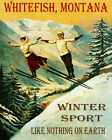 POSTER WHITEFISH MONTANA COUPLE SKI JUMPING WINTER SPORT VINTAGE REPRO FREE S/H