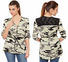 Womens Camouflage Lace Back Top Ladies Print Short Sleeve Belted V Neck 8-14