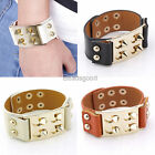 Real Cow Leather Rivets Spike Studded Buckle Mens Cuff Wristband Bangle Bracelet