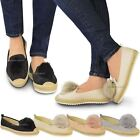 Womens Flat Trainers Ladies Pom Pom Slip On Sneakers Espadrilles Shoes Size 3-8